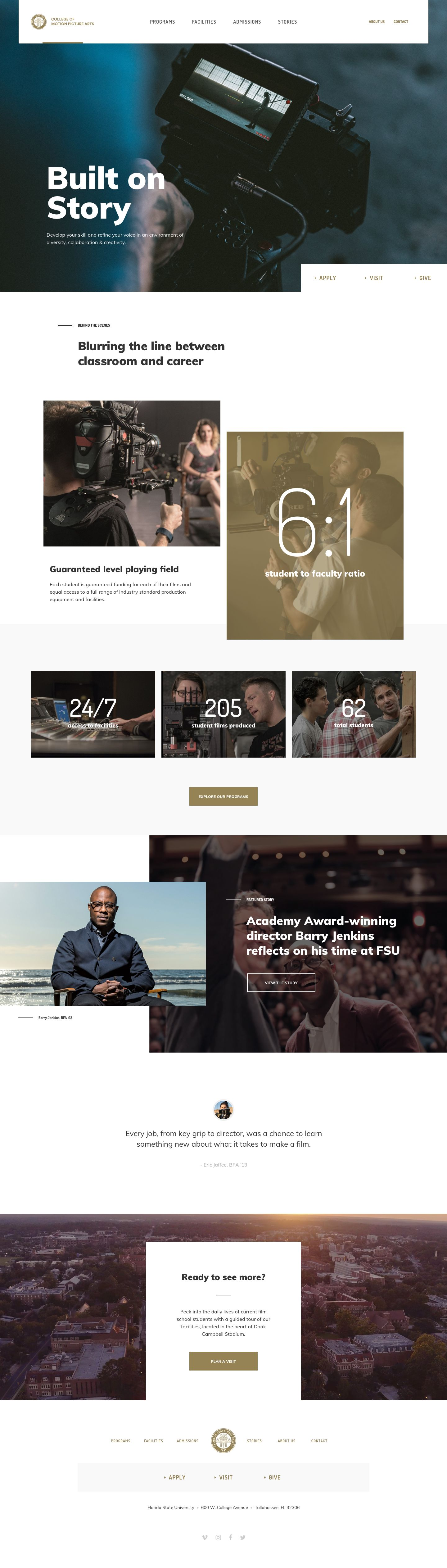Florida State University College Of Motion Picture Arts By Taylor Perrin Web Design Film School Web Design Tips