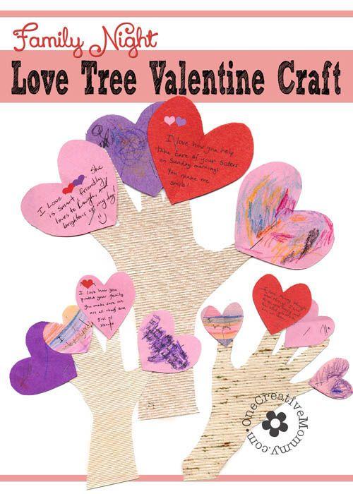 Family Night Valentine Crafts Love Trees Valentine Crafts