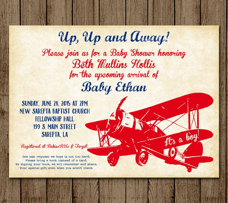Vintage Airplane Customized Baby Shower Invitation Plane Up Up and ...