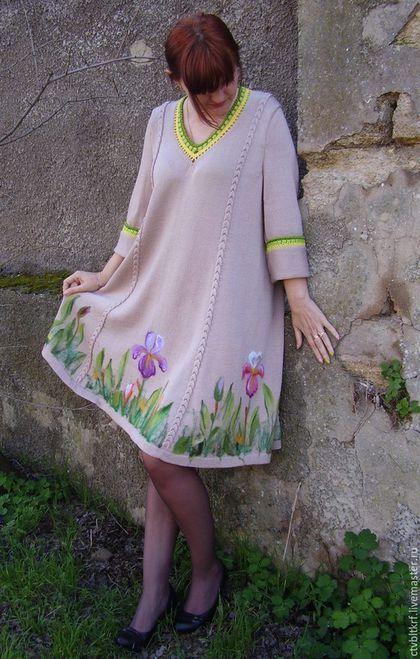 """Платья ручной работы. Ярмарка Мастеров - ручная работа. Купить Платье вязаное """"Желанный ирис"""". Handmade. Валяный цветок"""