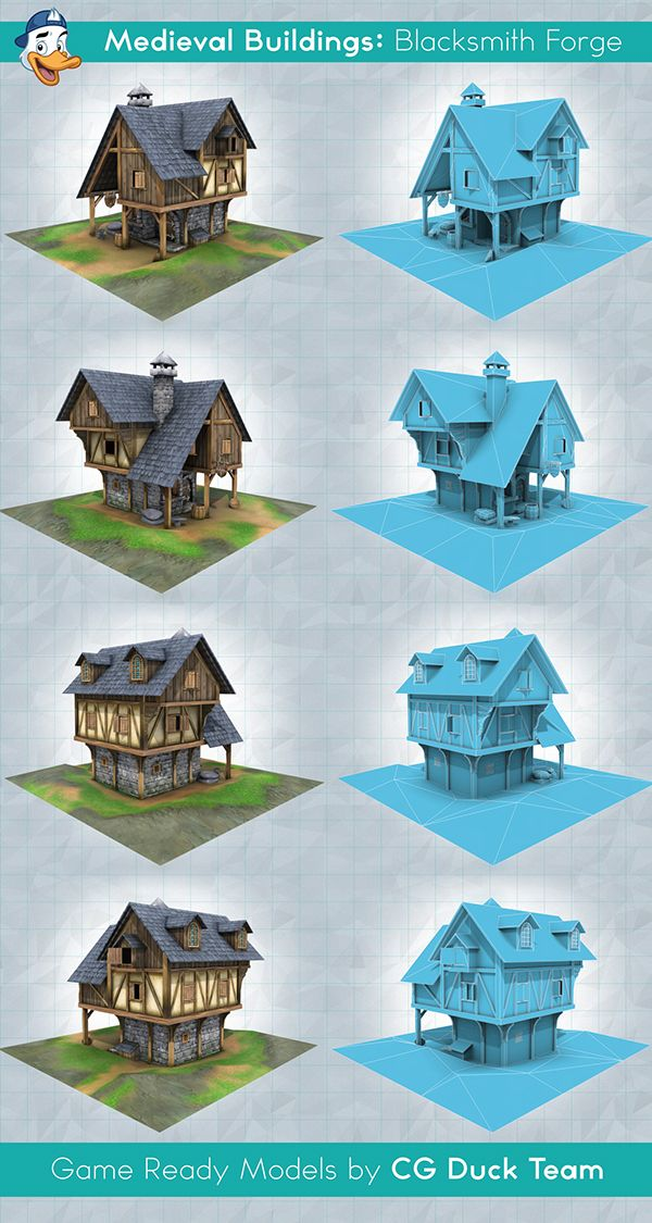 Medieval Buildings: Blacksmith Forge. Game Ready Low-poly