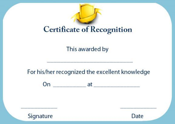 Certificate Of Recognition For Outstanding Teacher Certificate Of