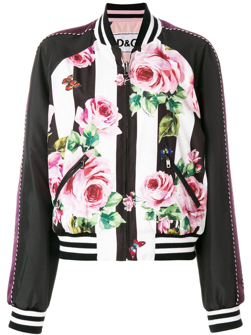 f3bfbecf8a5 Dolce   Gabbana куртка-бомбер с принтом роз