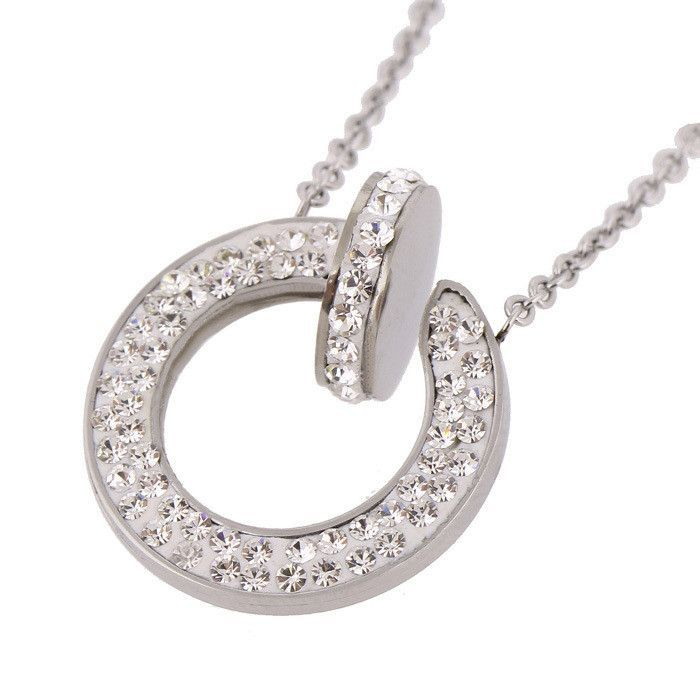 45cm Chain 316L Stainless Steel Jewelry Fashion Crystal Necklaces Pendants for women