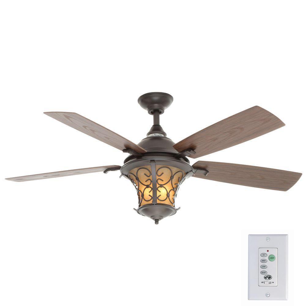 Hampton Bay Veranda Ii 52 In Indoor Outdoor Natural Iron Ceiling Fan With Light Kit And Wall Control Al03 Ni Ceiling Fan Outdoor Ceiling Fans Wall Fans