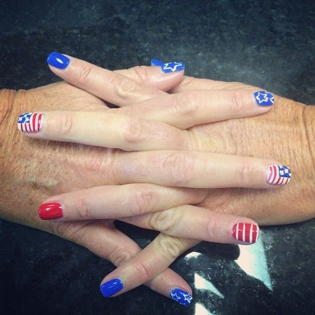 Ready For July 4th Thanks To My Personal Nail Artist Ros Da At Paradise Citi In Cornelius Nc Nail Artist Nails Cute Nails