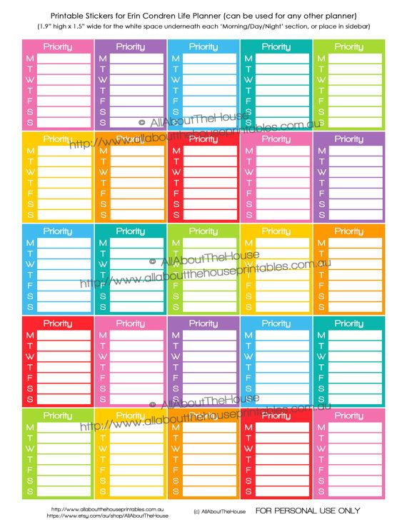 Priorty Planner Stickers - Printable Calendar Stickers Daily Most Important Task Full Box or Sidebar Erin Condren, Plum Paper Limelife etc. https://www.etsy.com/au/listing/235764859/priorty-planner-stickers-printable?ref=shop_home_active_6