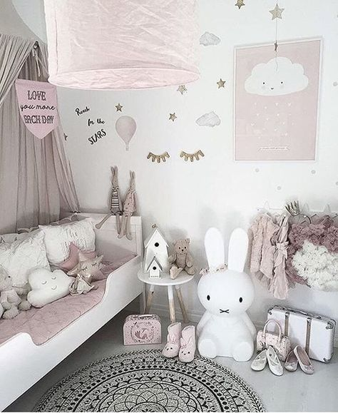 25 Cute And Comfy Scandinavian Nursery Ideas: Dusky Pink Nursery With A Minimalist Vibe, Cloud Cushions
