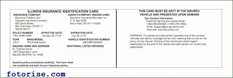 Automobile Insurance Card Template Best Of Free Fake Auto ...