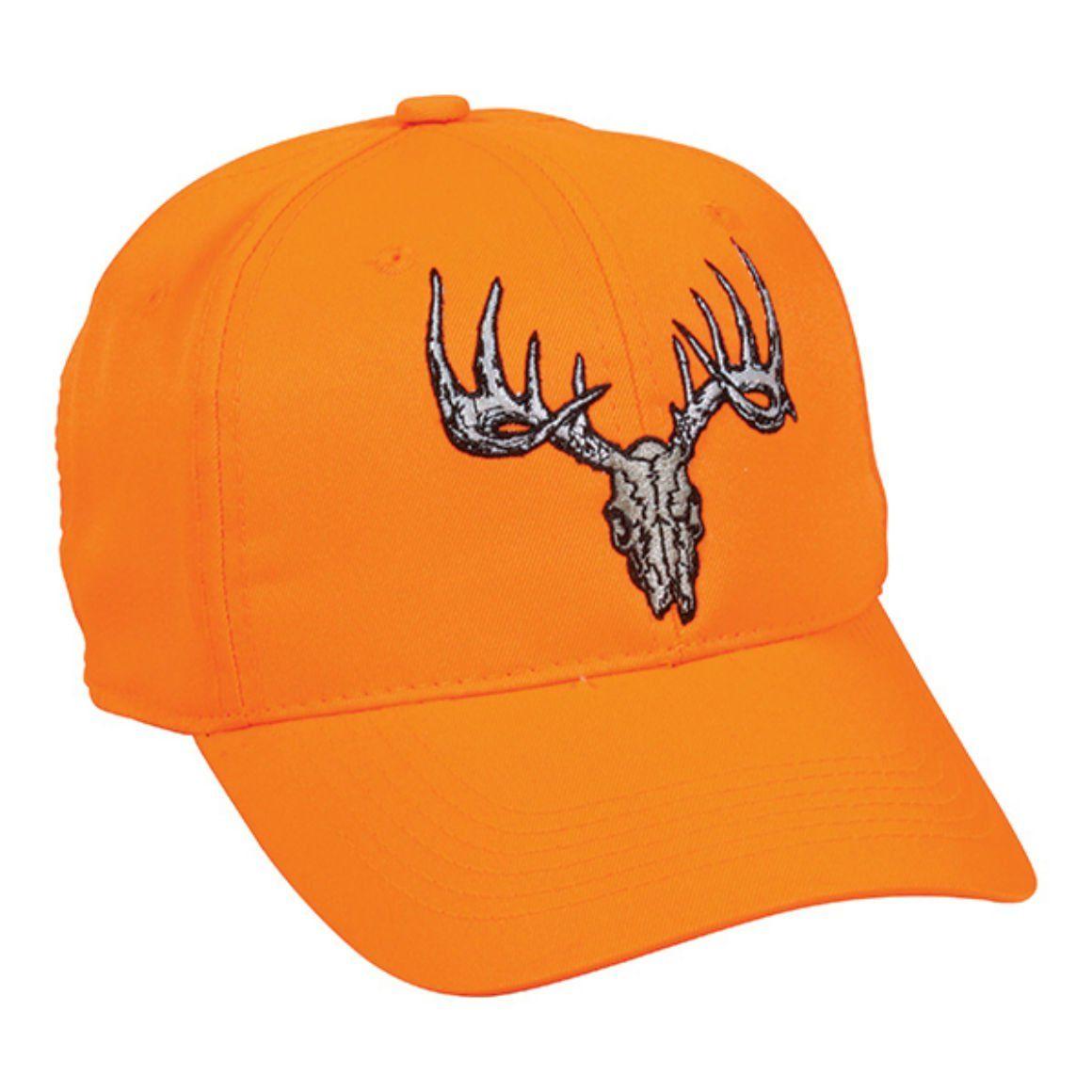 6947f3785 Blaze Orange Deer Skull Hunting Hat. Structured. Front: flat stitch  embroidery. Hook