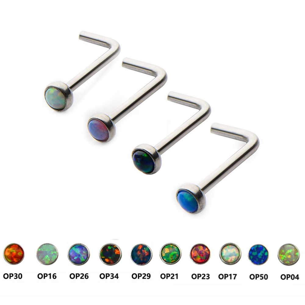 Nose piercing kit   Watch more here  Opal Gem Steel Nose Stud Ring Piercing