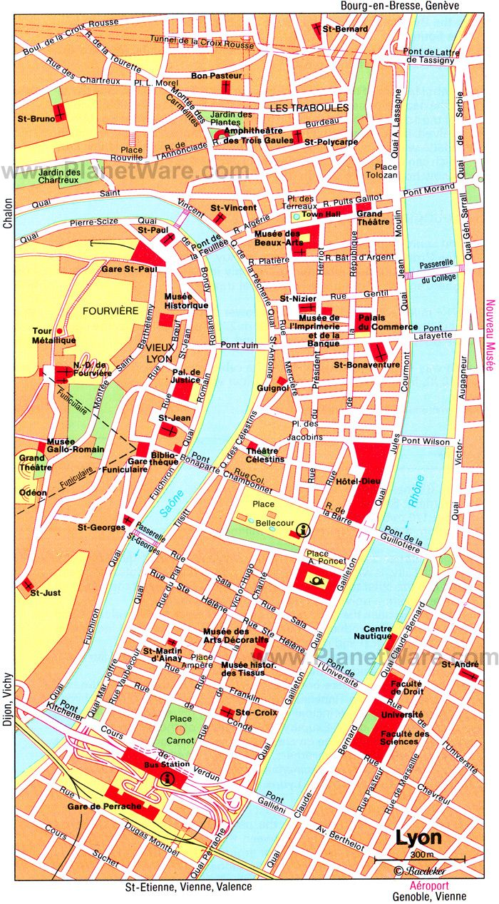 Map Of France For Tourists.Lyons Map Tourist Attractions France Lyon France France
