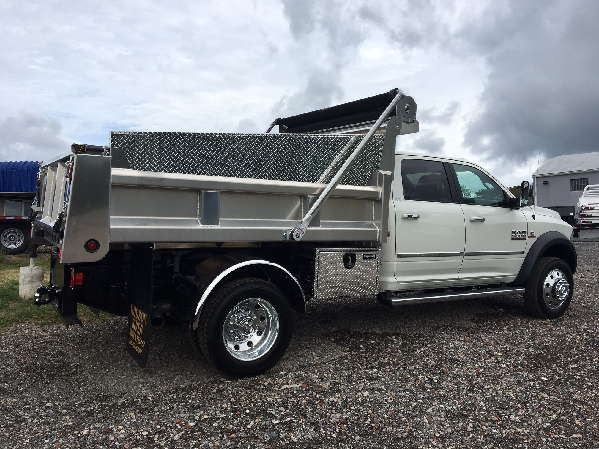 This ram is looking good with a rugby aluminum dump body aluminum side boards us tarp electric load cover stainless steel fenders more