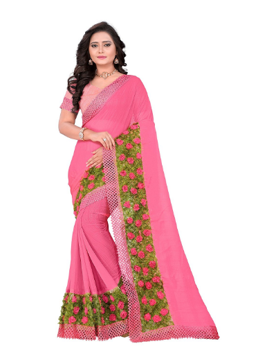 e5c0653379ff91 This is a gorgeous chiffon pink color saree and it saree special attraction  is border and lace. It saree has a grass design heavy border and it grass  has a ...