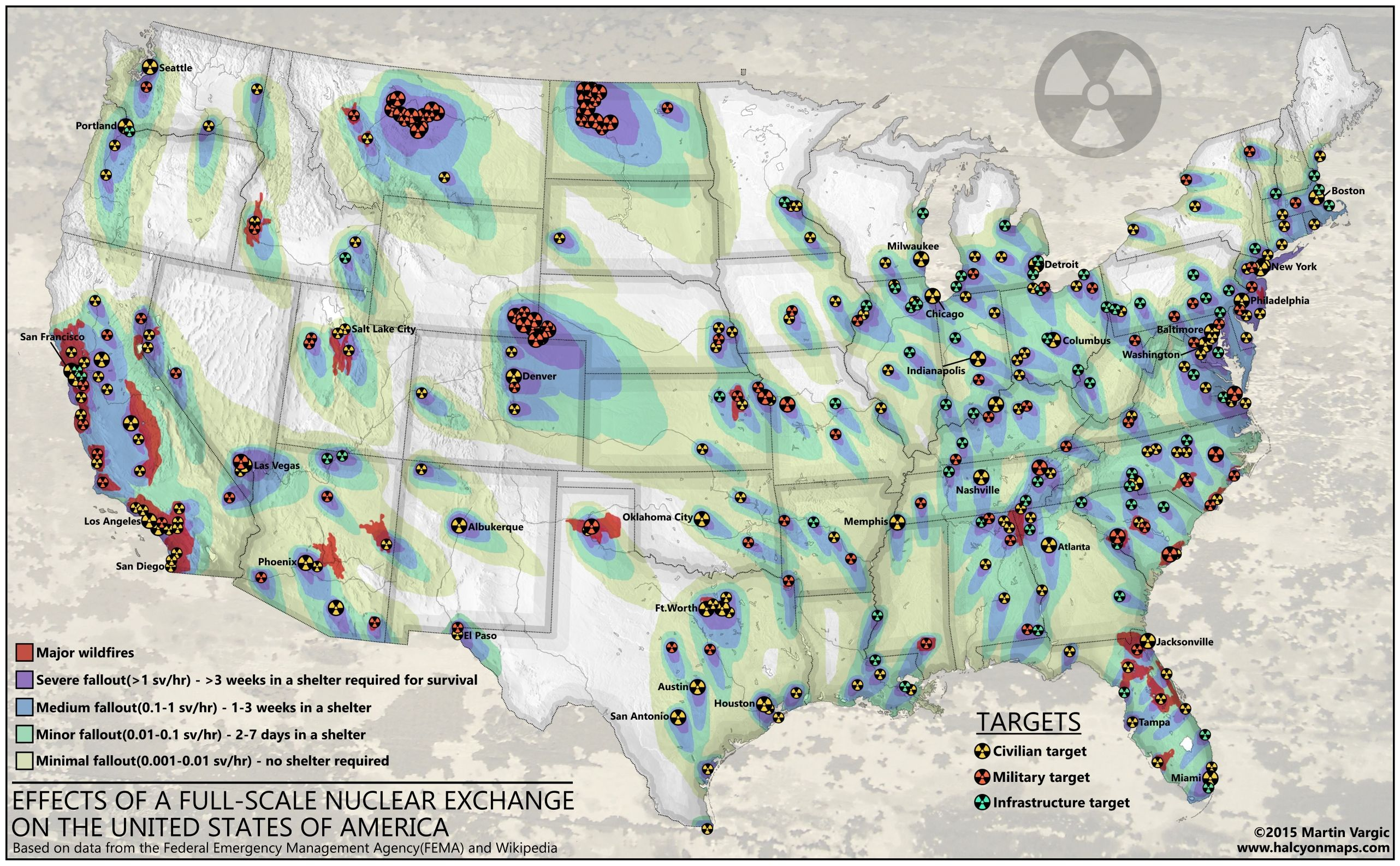 Nuclear Strike On The Usa Likely Targets Nuclearweapons - Nuclear-war-us-map
