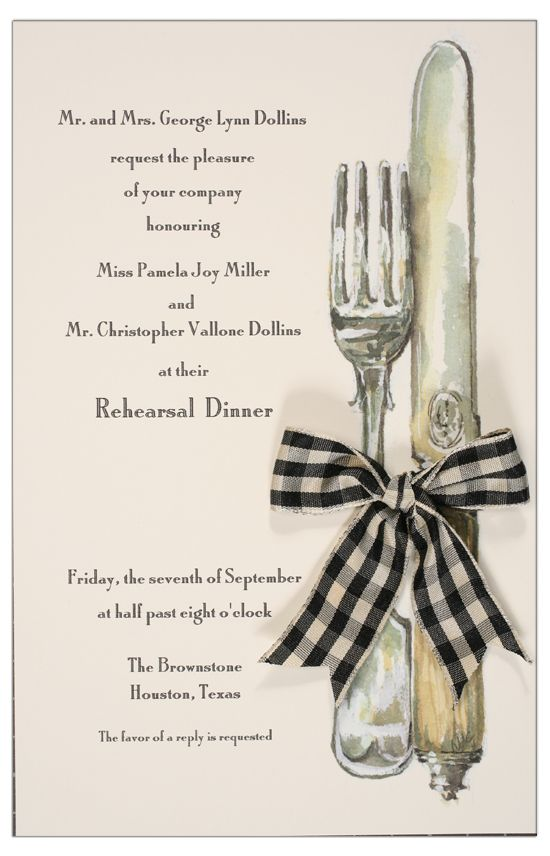 English Silver With Black Check Ribbon Invitation Ribbon Invitation Rehearsal Dinner Decorations Rehersal Dinner Invitations