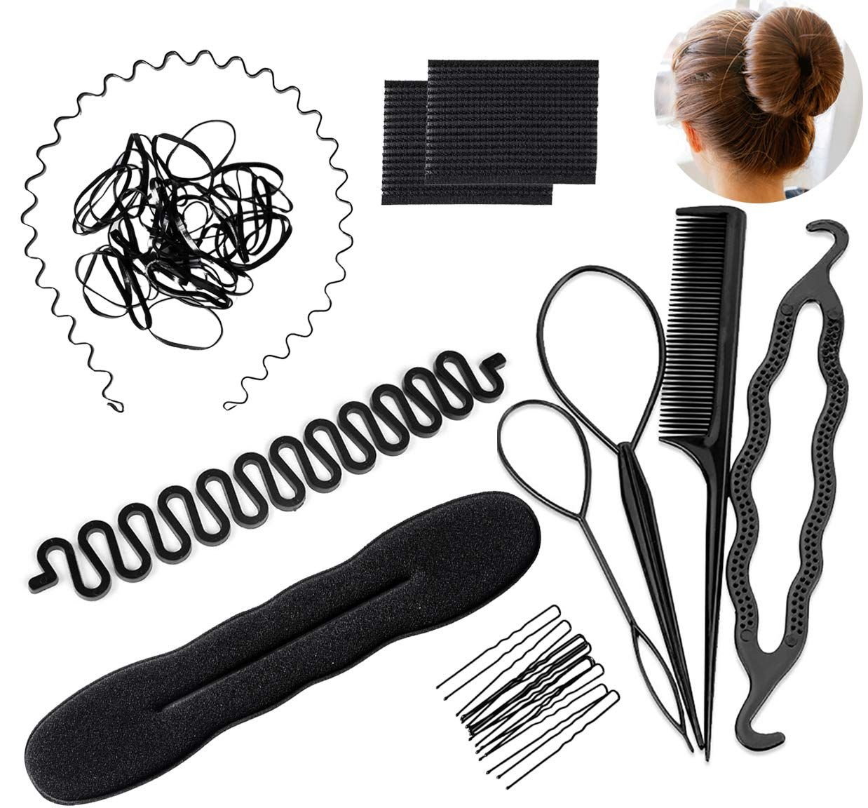 11 Pcs Hair Braid Tool Hair Styling Accessories Kit Set Bun Maker Hair Styling Accessories K Bun Maker Hairstyles Hair Braiding Tool Fashion Hair Accessories