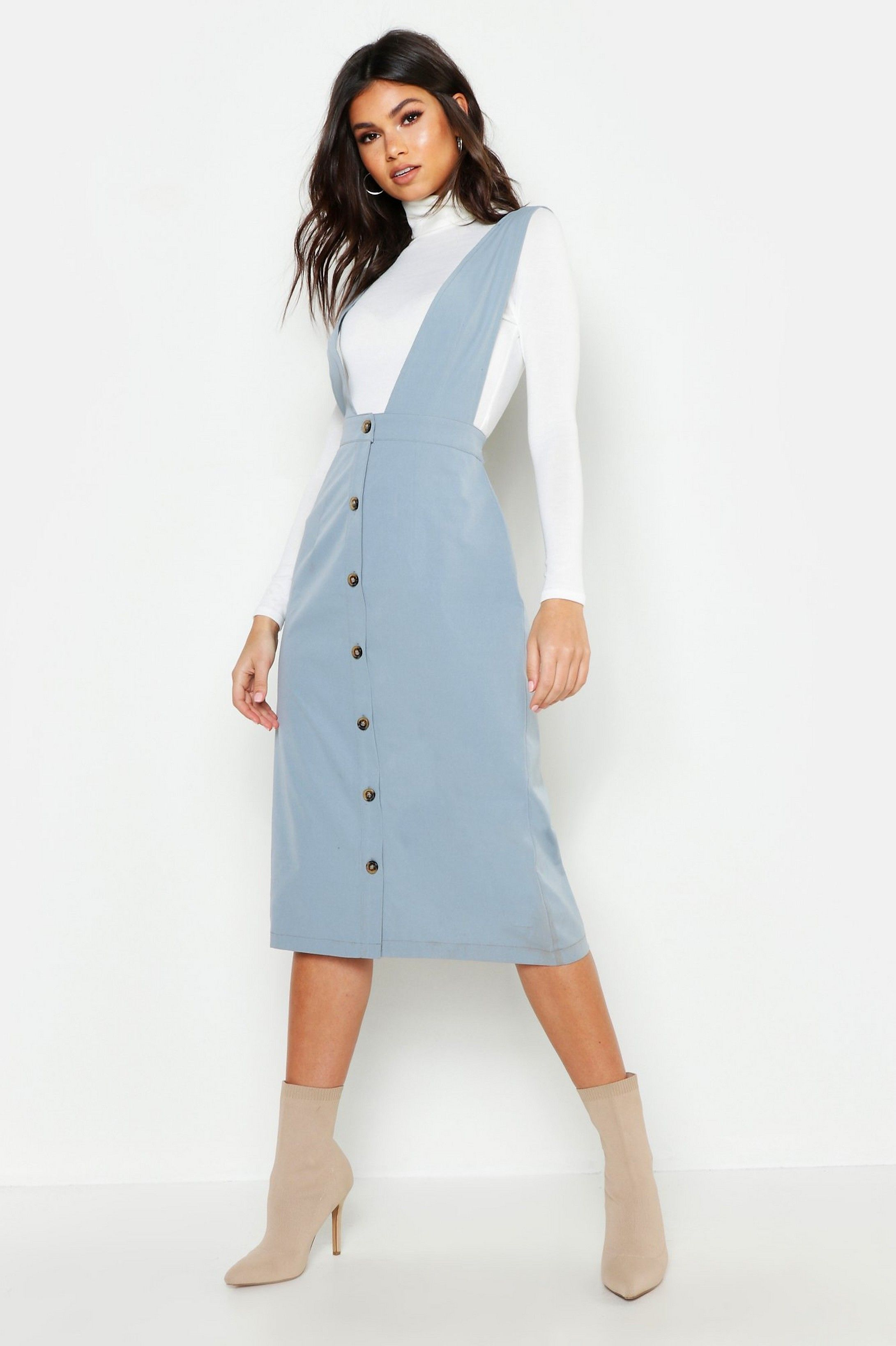 20c05ab162ab5 Plunge Front Button Midi Pinafore Dress in 2019 | Outfits | Midi ...