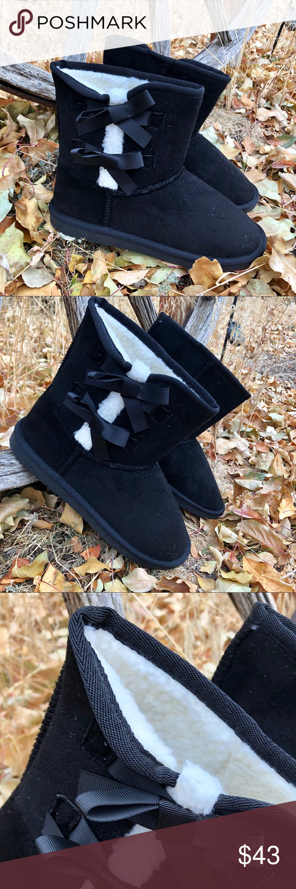 New! Black and White Sherpa Boot with Ribbon Bows The go to cold weather Boot!!! Black faux suede slip on Boot with Black Ribbon Bows and White Sherpa lining  Perfect with oversized sweaters and leggings or skinny jeans and bomber jackets. Outfit choices are limitless for the easy on/off boots. They'll even make you pajamas look cuter ❤️ New In Box True to size  Shipped straight from our BOUTIQUE  NO RETURNS PLEASE REFER TO POSHMARK RULES  ☮️❤️