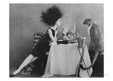 Vogue November 1960 Dining With A Cheetah Premium Photographic Print Leombruno Bodi Allposters Com Vintage Vogue Fashion Photography Vogue
