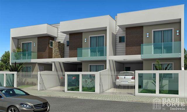 Sobrados modernos geminados de 2 pavimentos fachada for Casas duplex modernas