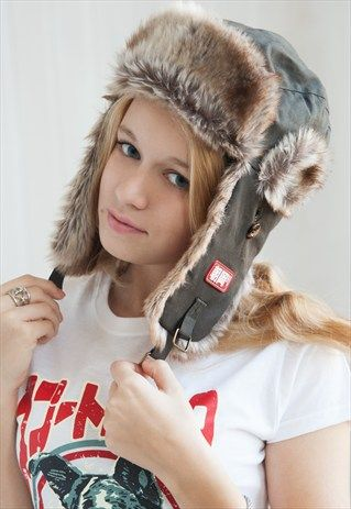 7cf027648c3 Japanese Style Trapper hat - Faux Fur trim Khaki Ushanka Russian Bomber hat  - by Strand Clothing