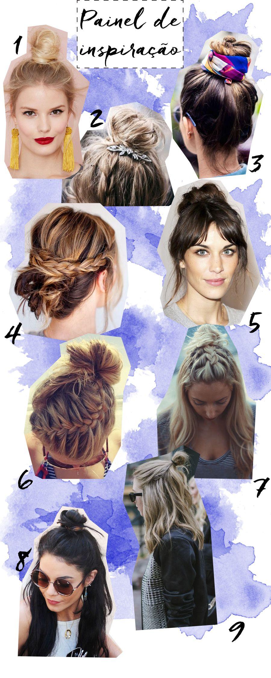 Post com inspirações de cabelos com o coque bagunçado e meio coque no topo da cabeça. Vários tipos de coques e cabelos meio presos. - Messy bun and half bun  #blogdemoda #hairstyle