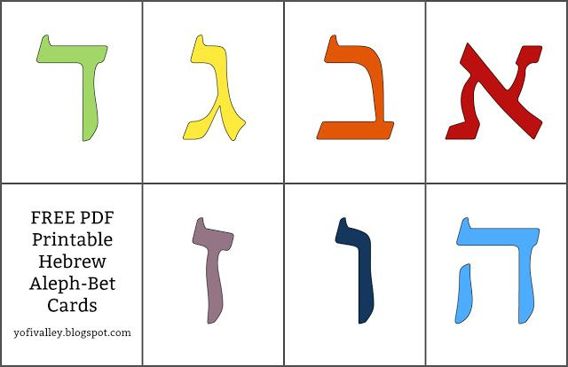 Hebrew Aleph-Bet Cards Free printable Hebrew alphabet cards