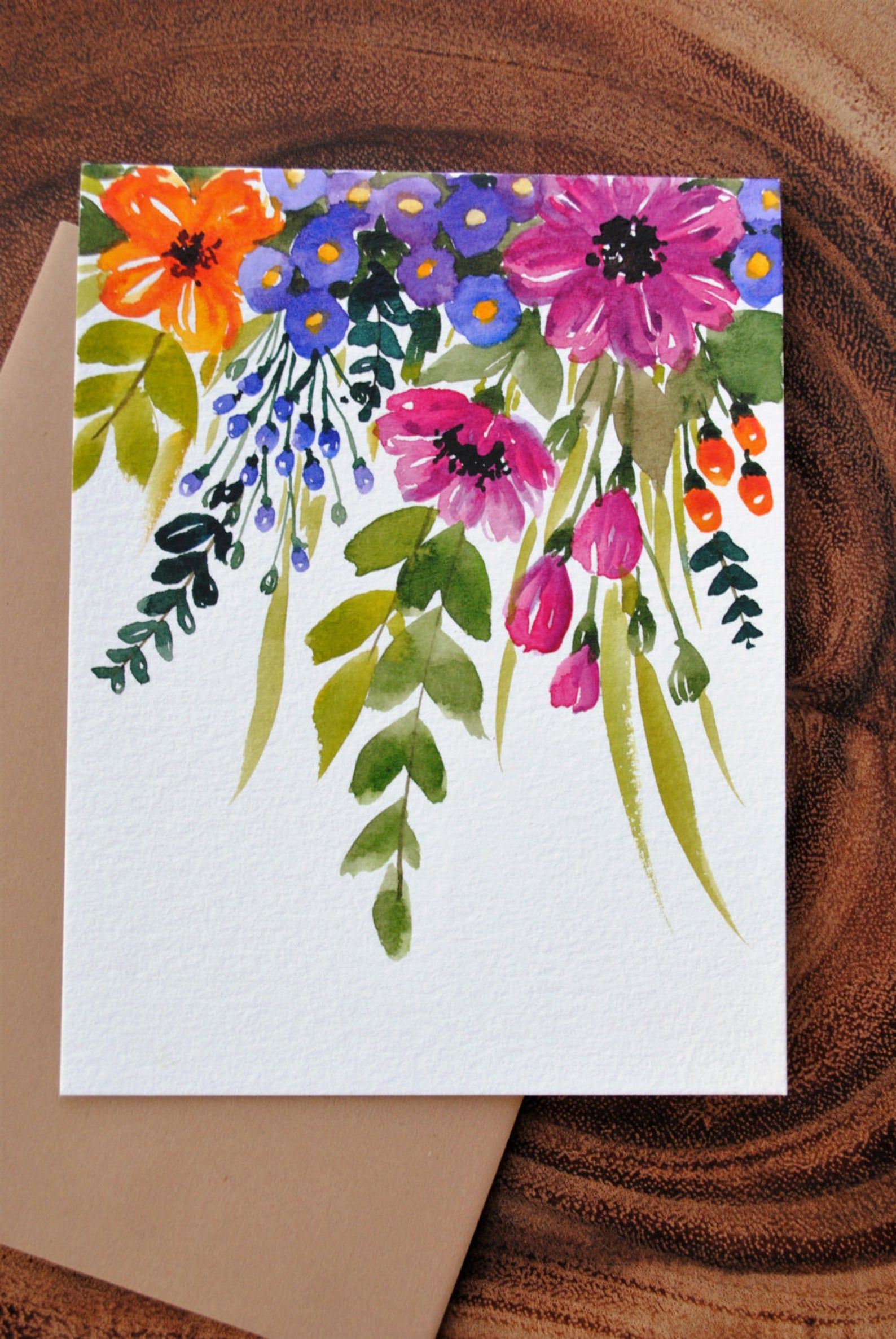 Set of 3_Original hand painted, watercolor Floral, Blank greeting, sympathy , Thank you, Birthday cards 4.5