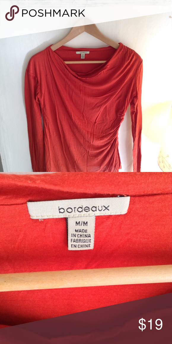 Anthropologie long sleeve draped top by Bordeaux A beautiful red-orange long sleeve shirt.  Very soft and comfortable.  Two layers in the front create a beautiful draping.  Great used condition. Anthropologie Tops Tees - Long Sleeve