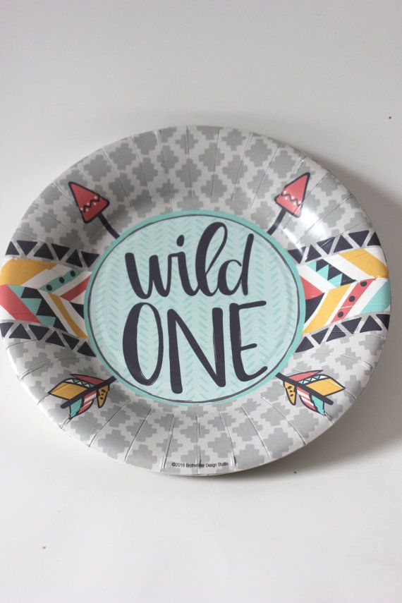 10 WILD ONE Small Paper Plates Dessert Where the Wild Things Are First Birthday Party Kids 1st Baby Shower Letter Pink Grey Mint Yellow & 10 WILD ONE Small Paper Plates Dessert Where the Wild Things Are ...