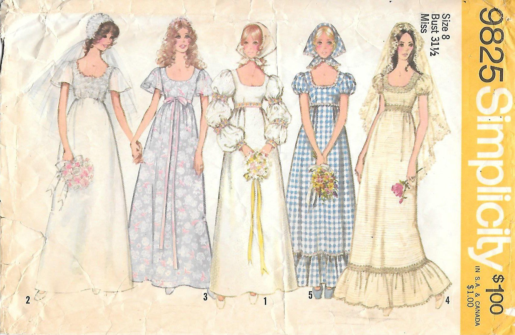 1970s Simplicity 9825 Peasant Style Wedding And Bridesmaid Dresses Vintage Sewing Patt Simplicity Patterns Dresses Wedding Dress Patterns Bridal Dress Patterns