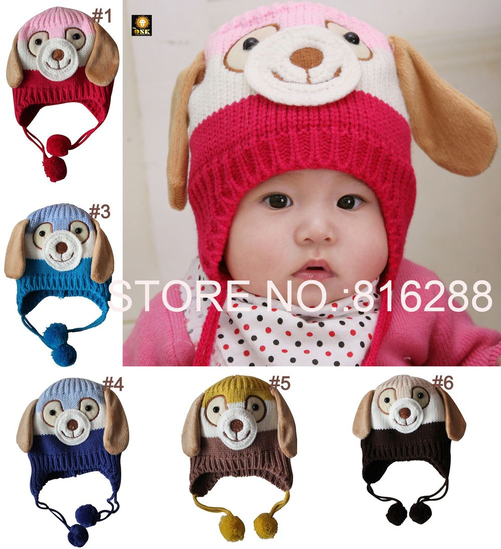 56132e1409b Free Shipping animal dog monkey shaped knitted baby cap boy girl winter hat  for child to keep warm 5 colors hats is children s-in Hats   Cap.