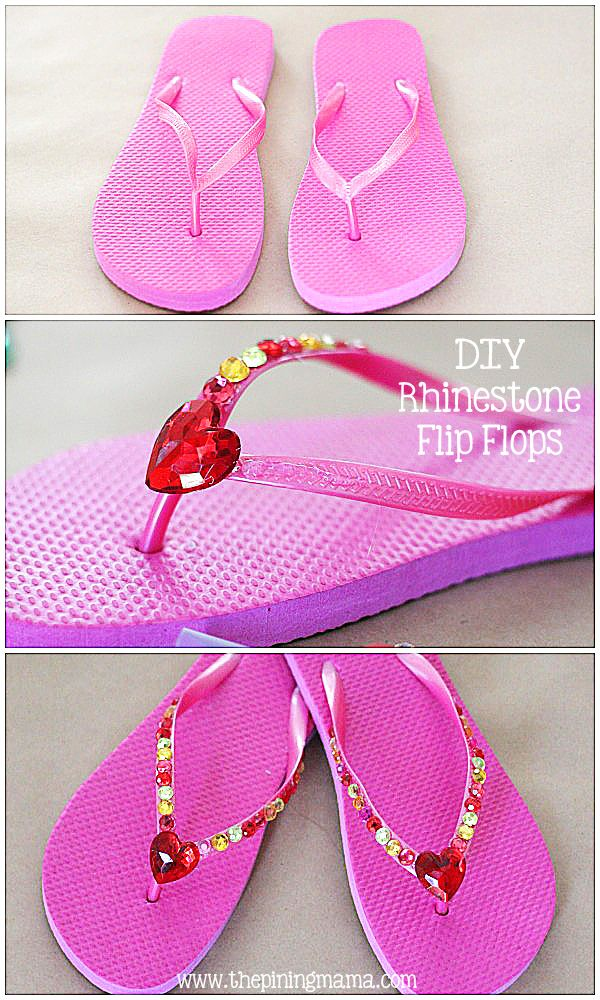 DIY Rhinestone flip flops by The Pinning Mama  77be853cfed98