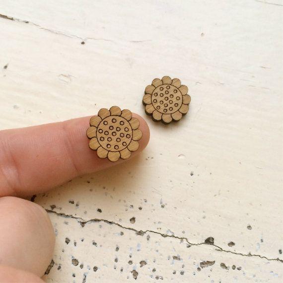 Dotty Daisy Bloom Laser Cut Wooden Earring by CraftyCutsLaser