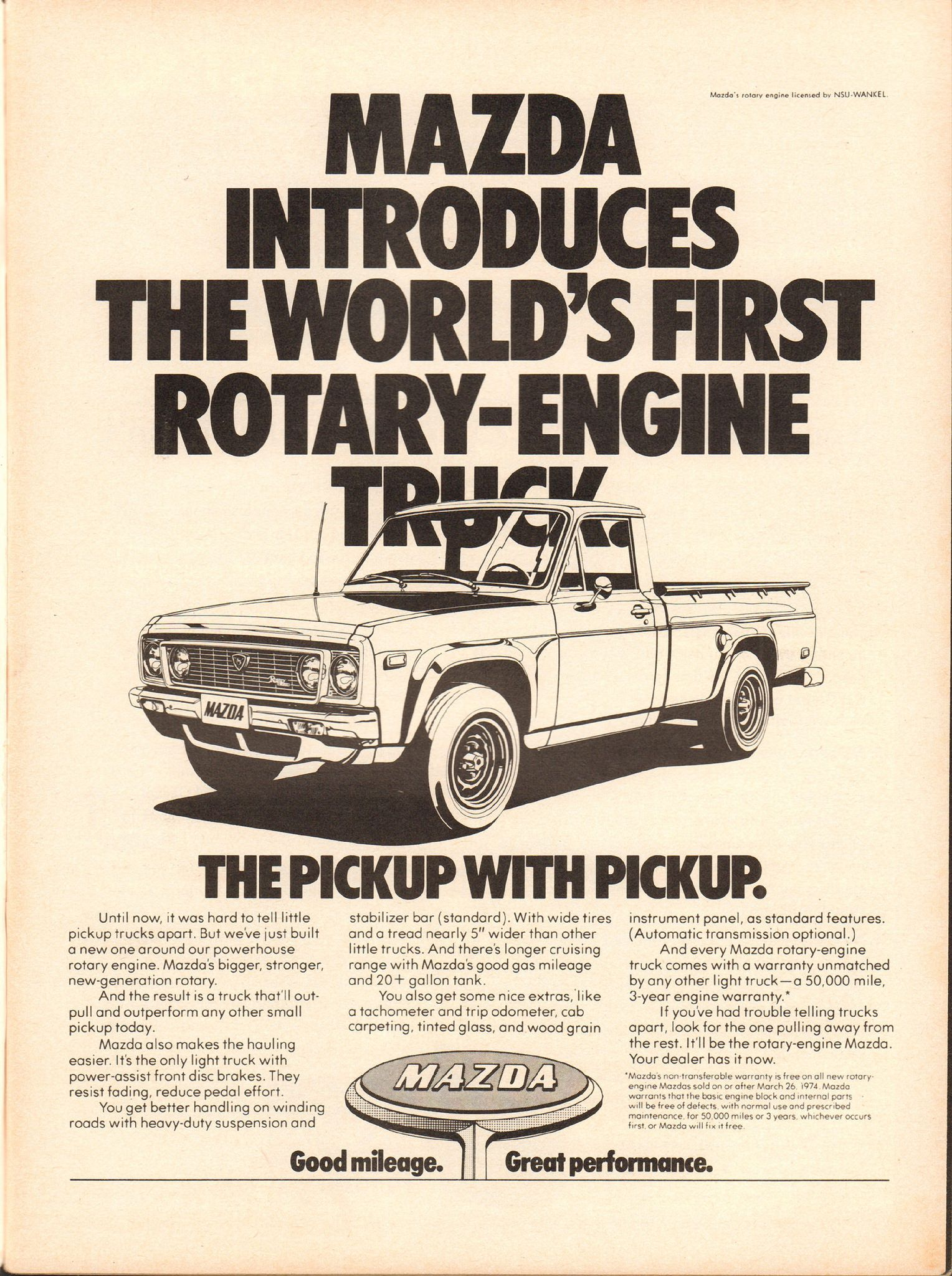 1974 Mazda Pickup Truck Advertisement Motor Trend August
