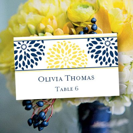 Place Card Printable Template Floral Petals Navy Yellow Word