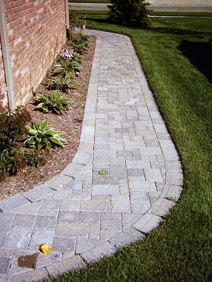 24 Garage Side Paver Walkway Garden Walkways Garden Walkway Paver Walkway Pathway Landscaping