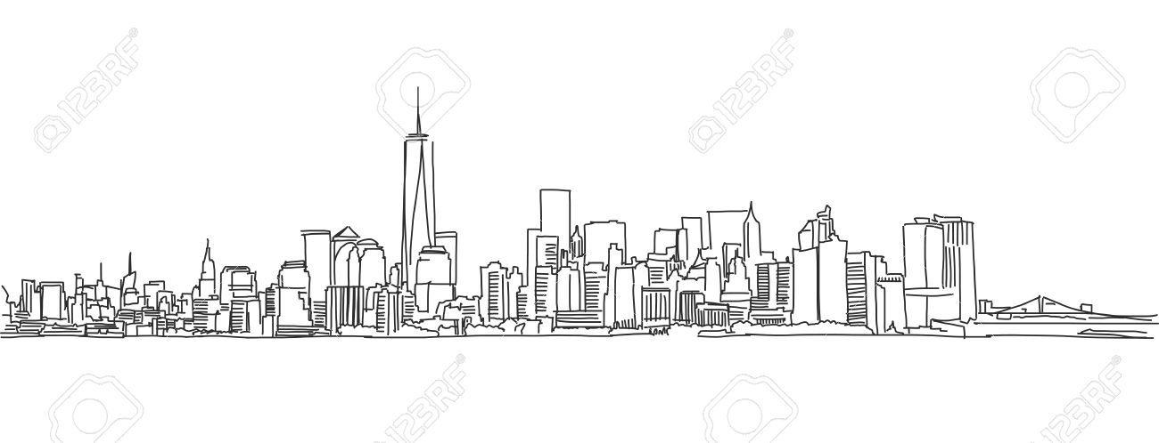 Manhattan Skyline Sketch – Illustrated Maps