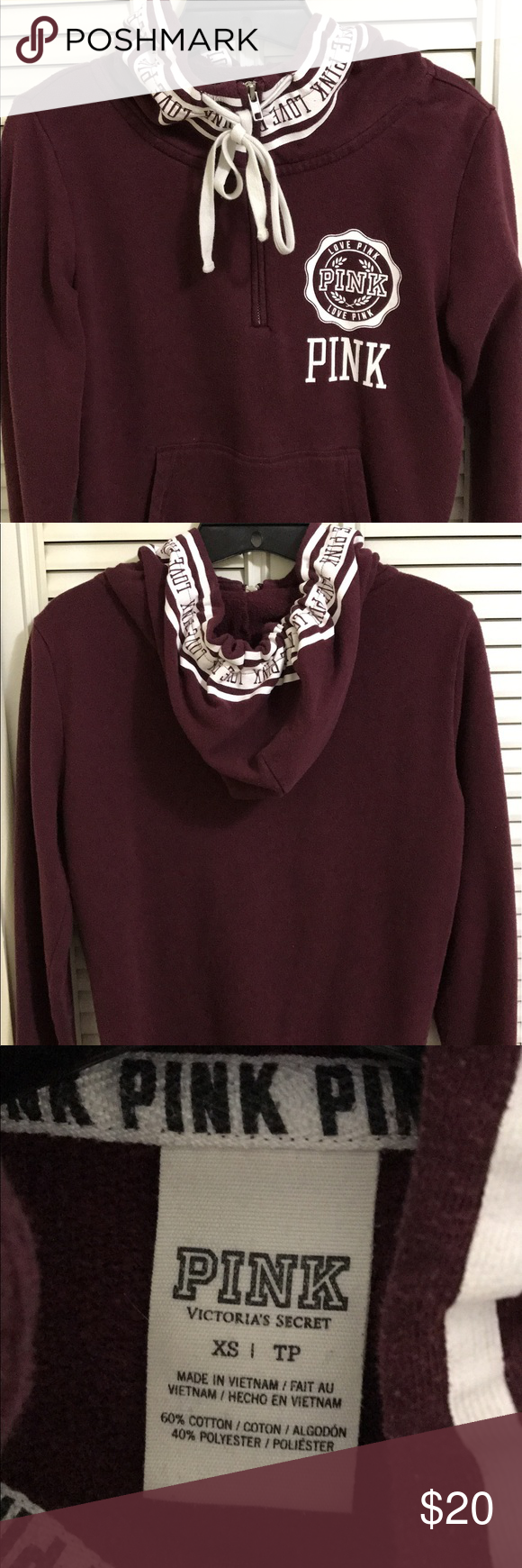 PINK half zip hoodie Size small, Burgundy colored with white ...