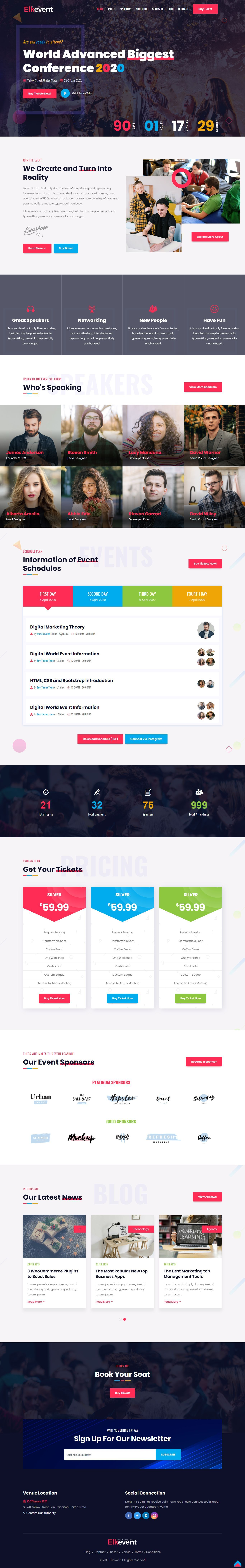 Conference Event And Meetup Html Website Template V 2020 G Dizajn