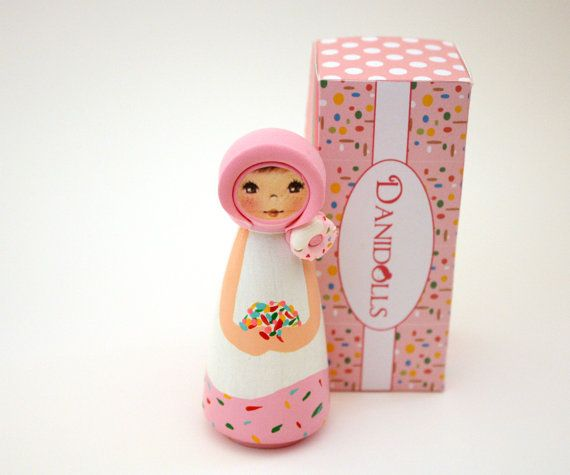 Sweet Pink Wooden Peg Doll Peg Dolls Wood Peg Dolls