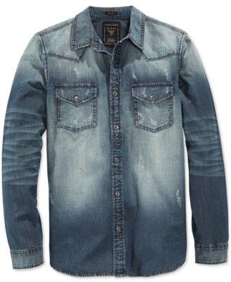 5530287c121 GUESS Men s Slim-Fit Western Long-Sleeve Storied Wash Denim Shirt - Casual  Button-Down Shirts - Men - Macy s