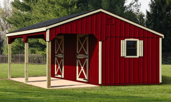 10x24 Stall Barn With 8ft Lean To Single Horse Barn Horse Barns Barn Stalls