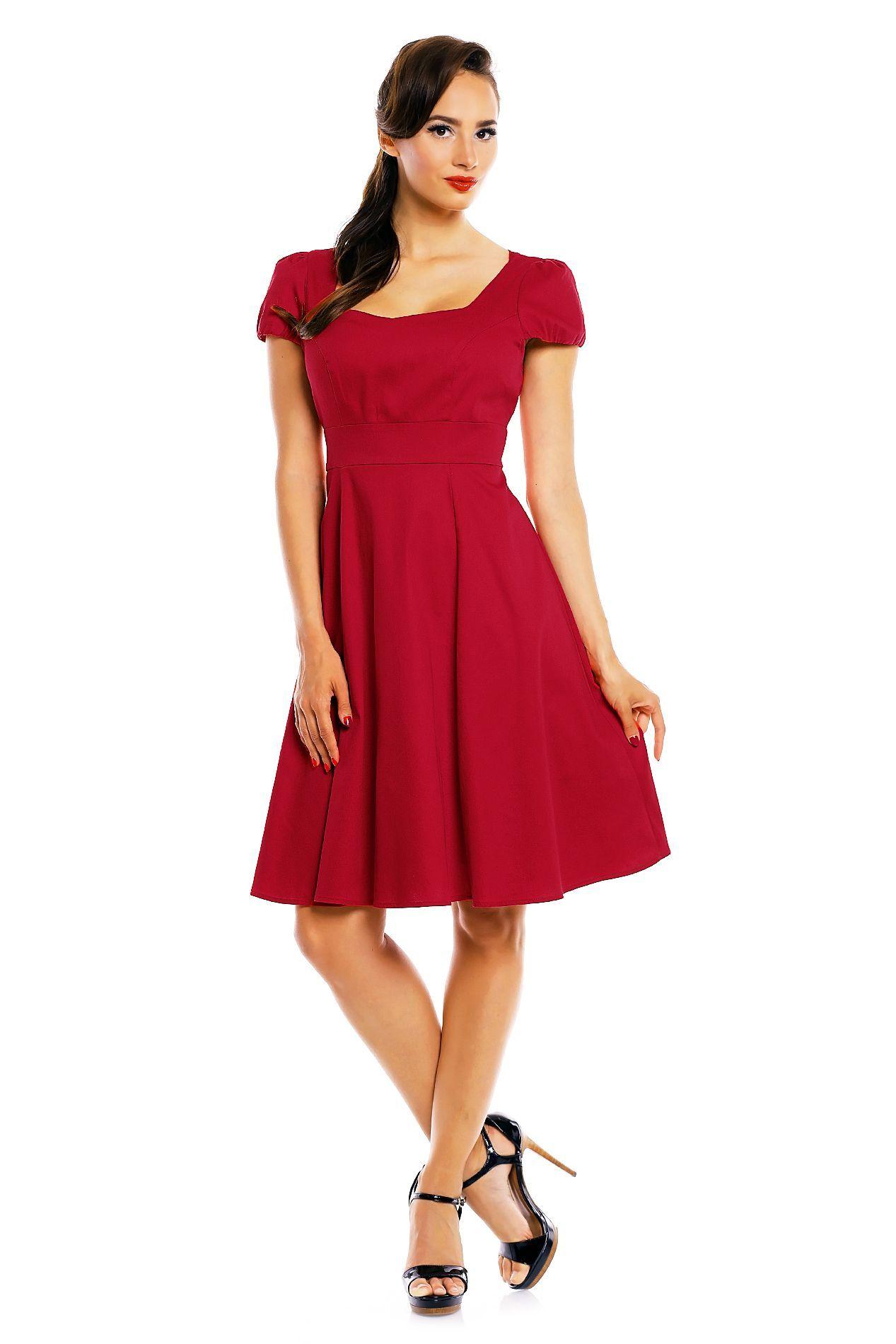 0e92d56d38c0 Claudia Flirty Fifties Style Dress in Plain Red - Swing Dresses
