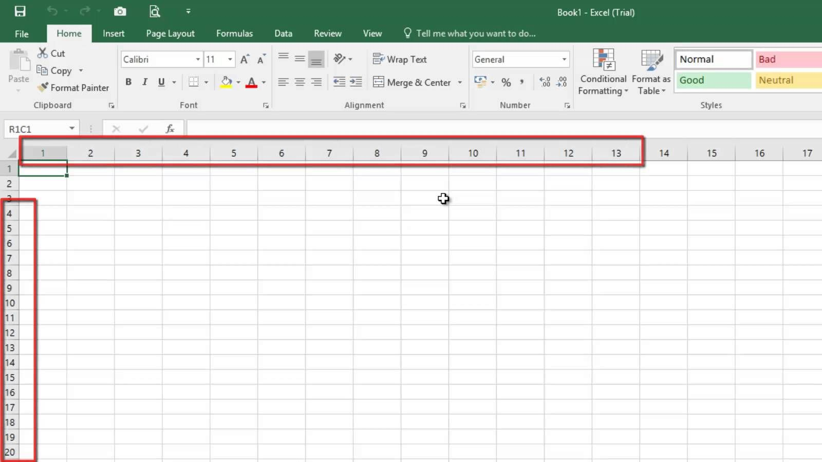 Microsoft Excel Rows And Columns Labeled As Numbers