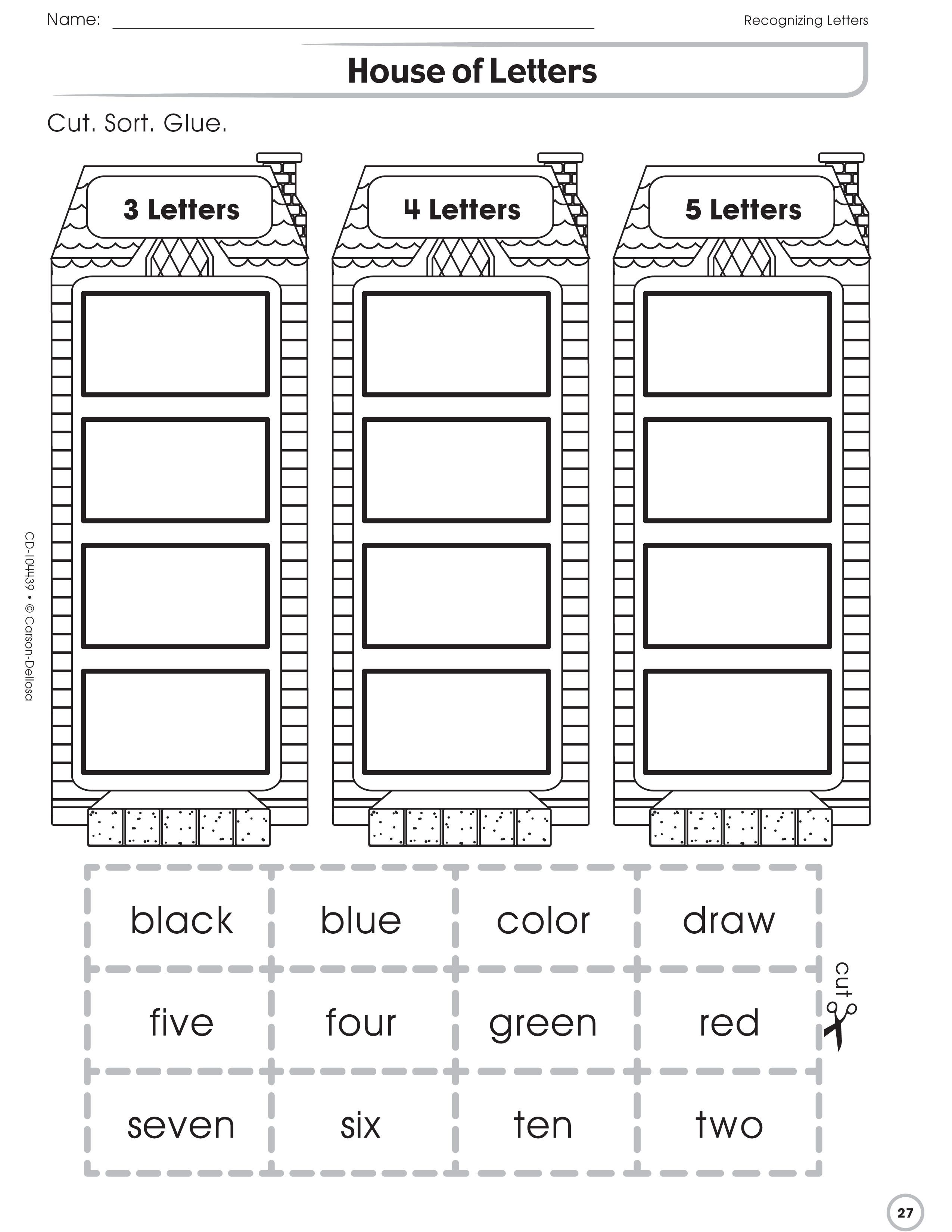 The House Of Letters Activity Page Helps Students Practice Cutting Sorting And Pasting
