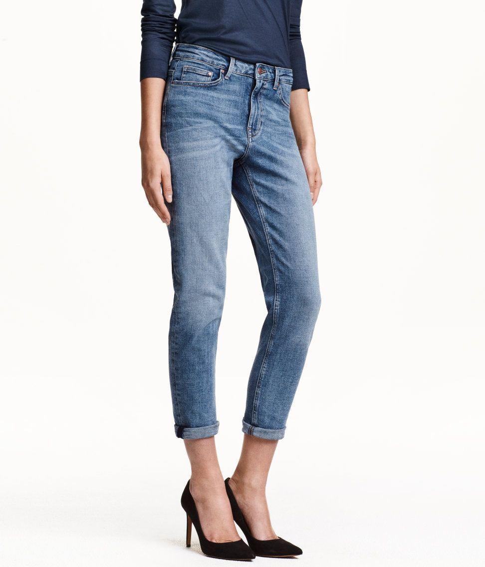 43da416e425 Ankle-length, 5-pocket girlfriend jeans in blue washed stretch denim. | H&M  Denim