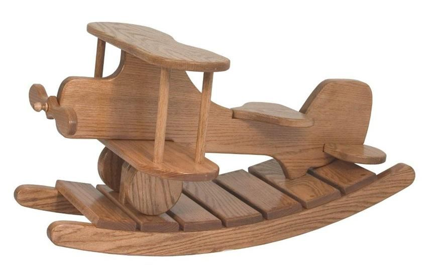 Amish wooden airplane rocker rocking horses rockers and for Small wooden rocking chair for crafts