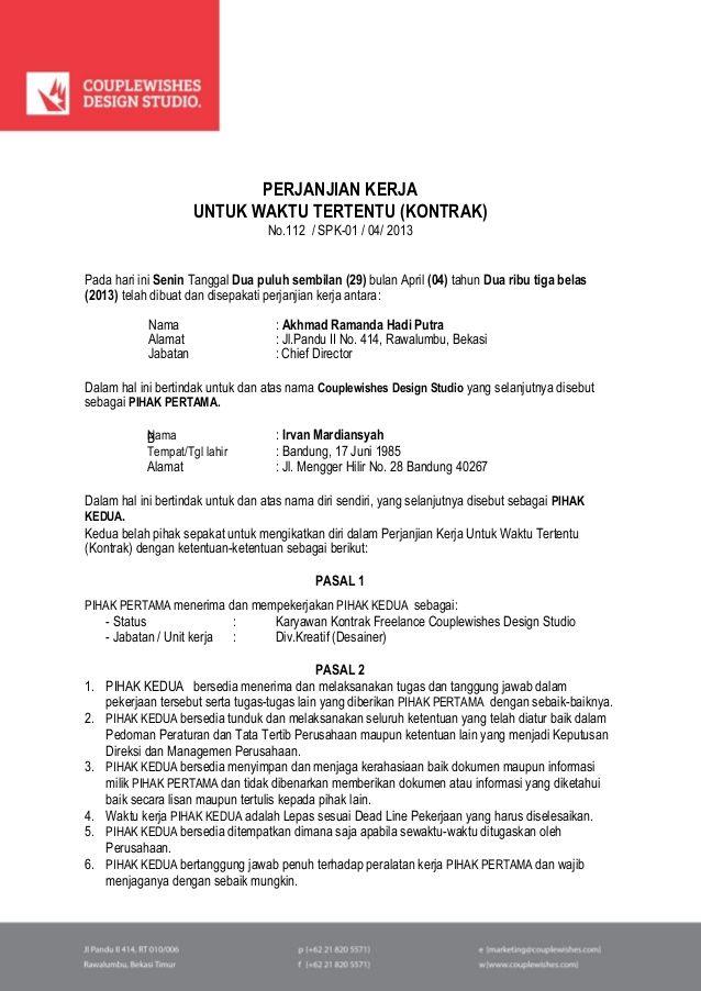 Perjanjian Kerja Untuk Waktu Tertentu Kontrak No112 Spk